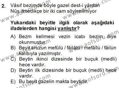 XIX. Yüzyıl Türk Edebiyatı Dersi 2014 - 2015 Yılı (Final) Dönem Sonu Sınav Soruları 2. Soru