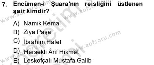 XIX. Yüzyıl Türk Edebiyatı Dersi Tek Ders Sınavı Deneme Sınav Soruları 7. Soru