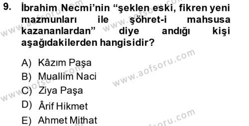 XIX. Yüzyıl Türk Edebiyatı Dersi Tek Ders Sınavı Deneme Sınav Soruları 9. Soru