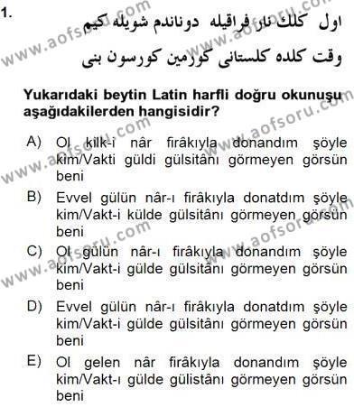 XIX. Yüzyıl Türk Edebiyatı Dersi 2015 - 2016 Yılı (Vize) Ara Sınav Soruları 1. Soru