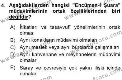 XIX. Yüzyıl Türk Edebiyatı Dersi 2015 - 2016 Yılı (Vize) Ara Sınav Soruları 4. Soru