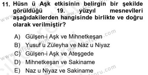 XIX. Yüzyıl Türk Edebiyatı Dersi Tek Ders Sınavı Deneme Sınav Soruları 11. Soru