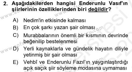 XIX. Yüzyıl Türk Edebiyatı Dersi 2015 - 2016 Yılı Tek Ders Sınav Soruları 2. Soru