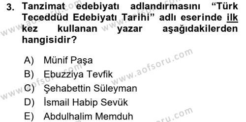 XIX. Yüzyıl Türk Edebiyatı Dersi 2015 - 2016 Yılı Tek Ders Sınav Soruları 3. Soru