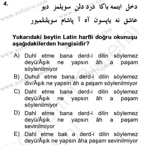 XIX. Yüzyıl Türk Edebiyatı Dersi 2015 - 2016 Yılı Tek Ders Sınav Soruları 4. Soru