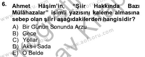 Cumhuriyet Dönemi Türk Şiiri Dersi Ara Sınavı Deneme Sınav Soruları 6. Soru