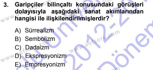 Cumhuriyet Dönemi Türk Şiiri Dersi 2012 - 2013 Yılı Dönem Sonu Sınavı 3. Soru