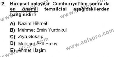 Cumhuriyet Dönemi Türk Şiiri Dersi 2012 - 2013 Yılı Tek Ders Sınav Soruları 2. Soru
