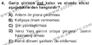 Cumhuriyet Dönemi Türk Şiiri Dersi 2012 - 2013 Yılı Tek Ders Sınav Soruları 4. Soru
