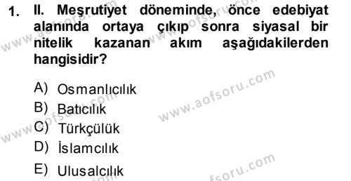 Cumhuriyet Dönemi Türk Şiiri Dersi 2013 - 2014 Yılı Ara Sınavı 1. Soru