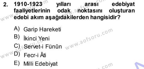 Cumhuriyet Dönemi Türk Şiiri Dersi 2013 - 2014 Yılı Ara Sınavı 2. Soru