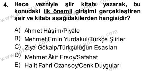 Türk Dili ve Edebiyatı Bölümü 7. Yarıyıl Cumhuriyet Dönemi Türk Şiiri Dersi 2014 Yılı Güz Dönemi Ara Sınavı 4. Soru