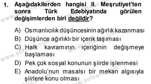 Türk Dili ve Edebiyatı Bölümü 7. Yarıyıl Cumhuriyet Dönemi Türk Şiiri Dersi 2014 Yılı Güz Dönemi Dönem Sonu Sınavı 1. Soru