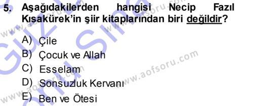 Türk Dili ve Edebiyatı Bölümü 7. Yarıyıl Cumhuriyet Dönemi Türk Şiiri Dersi 2014 Yılı Güz Dönemi Dönem Sonu Sınavı 5. Soru