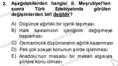 Türk Dili ve Edebiyatı Bölümü 7. Yarıyıl Cumhuriyet Dönemi Türk Şiiri Dersi 2014 Yılı Güz Dönemi Tek Ders Sınavı 2. Soru
