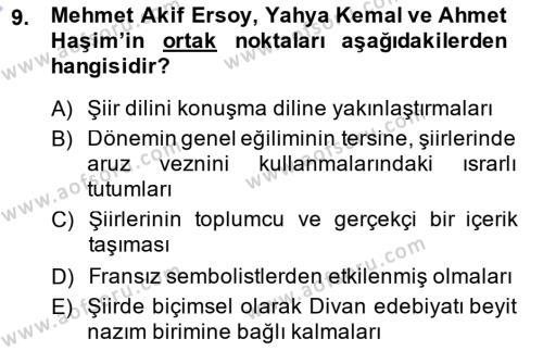 Cumhuriyet Dönemi Türk Şiiri Dersi Ara Sınavı Deneme Sınav Soruları 9. Soru
