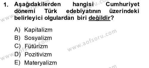 Cumhuriyet Dönemi Türk Şiiri Dersi 2014 - 2015 Yılı (Final) Dönem Sonu Sınav Soruları 1. Soru