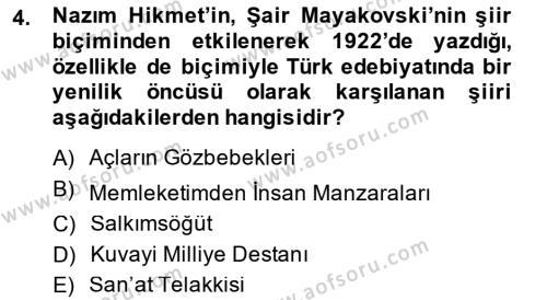 Cumhuriyet Dönemi Türk Şiiri Dersi 2014 - 2015 Yılı (Final) Dönem Sonu Sınav Soruları 4. Soru