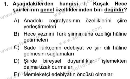 Cumhuriyet Dönemi Türk Şiiri Dersi 2015 - 2016 Yılı Ara Sınavı 1. Soru