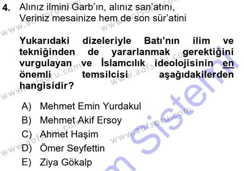 Cumhuriyet Dönemi Türk Şiiri Dersi 2015 - 2016 Yılı Ara Sınavı 4. Soru