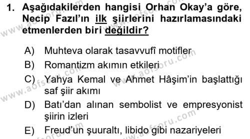 Cumhuriyet Dönemi Türk Şiiri Dersi 2015 - 2016 Yılı Tek Ders Sınav Soruları 1. Soru