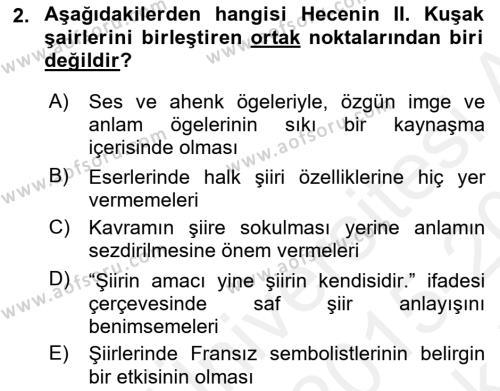 Cumhuriyet Dönemi Türk Şiiri Dersi 2015 - 2016 Yılı Tek Ders Sınav Soruları 2. Soru