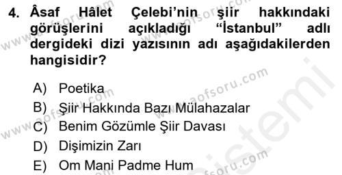 Cumhuriyet Dönemi Türk Şiiri Dersi 2015 - 2016 Yılı Tek Ders Sınav Soruları 4. Soru
