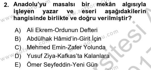 Cumhuriyet Dönemi Türk Şiiri Dersi 2016 - 2017 Yılı 3 Ders Sınav Soruları 2. Soru