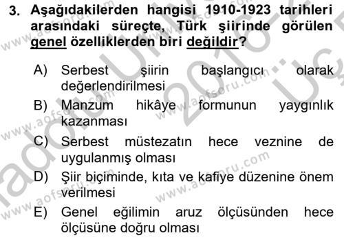 Cumhuriyet Dönemi Türk Şiiri Dersi 2016 - 2017 Yılı 3 Ders Sınav Soruları 3. Soru