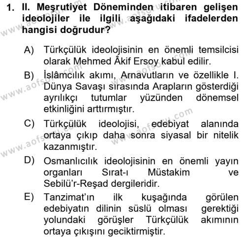 Cumhuriyet Dönemi Türk Şiiri Dersi 2016 - 2017 Yılı (Vize) Ara Sınav Soruları 1. Soru
