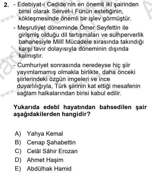 Cumhuriyet Dönemi Türk Şiiri Dersi 2016 - 2017 Yılı (Vize) Ara Sınav Soruları 2. Soru