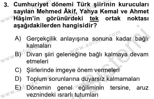 Cumhuriyet Dönemi Türk Şiiri Dersi 2016 - 2017 Yılı (Vize) Ara Sınav Soruları 3. Soru
