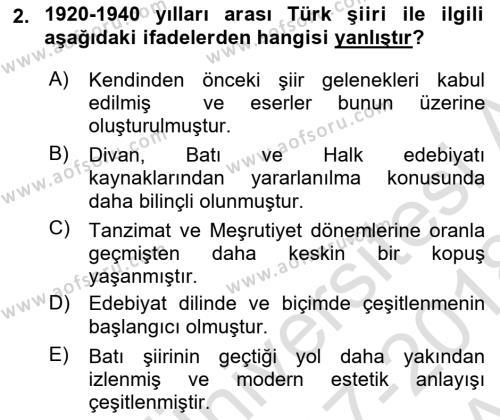 Cumhuriyet Dönemi Türk Şiiri Dersi 2017 - 2018 Yılı (Vize) Ara Sınav Soruları 2. Soru