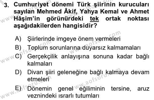 Cumhuriyet Dönemi Türk Şiiri Dersi 2017 - 2018 Yılı (Vize) Ara Sınav Soruları 3. Soru