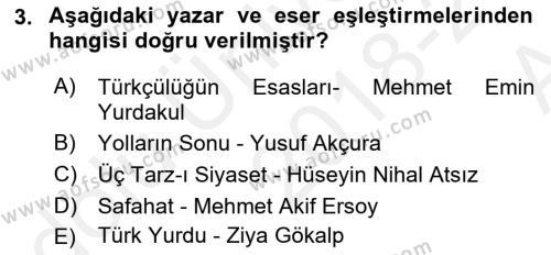 Cumhuriyet Dönemi Türk Şiiri Dersi 2018 - 2019 Yılı (Vize) Ara Sınav Soruları 3. Soru