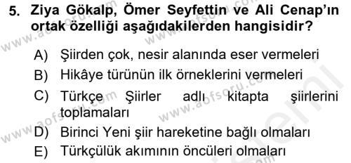 Cumhuriyet Dönemi Türk Şiiri Dersi Ara Sınavı Deneme Sınav Soruları 5. Soru