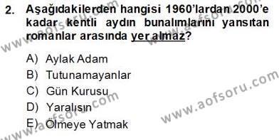 Çağdaş Türk Romanı Dersi 2013 - 2014 Yılı (Final) Dönem Sonu Sınav Soruları 2. Soru