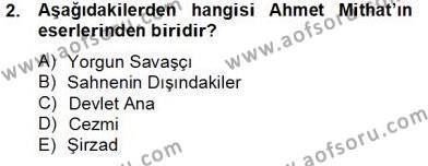 Çağdaş Türk Romanı Dersi 2013 - 2014 Yılı Tek Ders Sınav Soruları 2. Soru