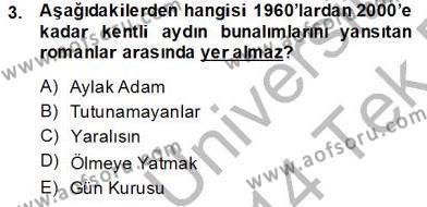 Çağdaş Türk Romanı Dersi 2013 - 2014 Yılı Tek Ders Sınav Soruları 3. Soru