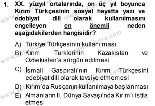 Çağdaş Türk Edebiyatları 1 Dersi 2013 - 2014 Yılı (Final) Dönem Sonu Sınav Soruları 1. Soru