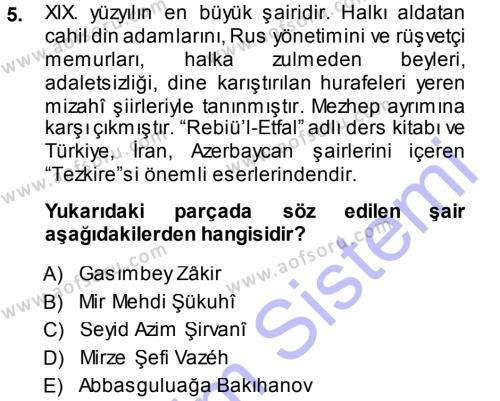 Türk Dili ve Edebiyatı Bölümü 7. Yarıyıl Çağdaş Türk Edebiyatları I Dersi 2014 Yılı Güz Dönemi Dönem Sonu Sınavı 5. Soru