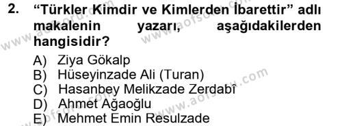 Çağdaş Türk Edebiyatları 1 Dersi 2013 - 2014 Yılı Tek Ders Sınav Soruları 2. Soru