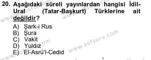 Çağdaş Türk Edebiyatları 1 Dersi Tek Ders Sınavı Deneme Sınav Soruları 20. Soru