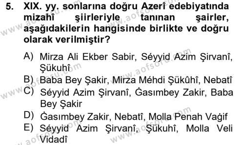 Türk Dili ve Edebiyatı Bölümü 7. Yarıyıl Çağdaş Türk Edebiyatları I Dersi 2014 Yılı Güz Dönemi Tek Ders Sınavı 5. Soru