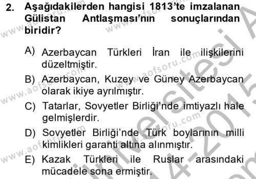 Çağdaş Türk Edebiyatları 1 Dersi 2014 - 2015 Yılı Dönem Sonu Sınavı 2. Soru