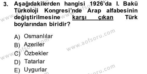 Çağdaş Türk Edebiyatları 1 Dersi 2014 - 2015 Yılı Dönem Sonu Sınavı 3. Soru