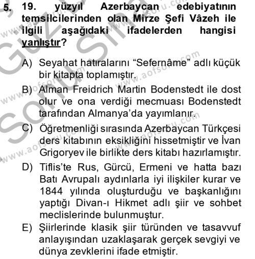 Türk Dili ve Edebiyatı Bölümü 7. Yarıyıl Çağdaş Türk Edebiyatları I Dersi 2015 Yılı Güz Dönemi Dönem Sonu Sınavı 5. Soru