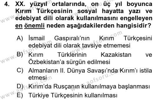 Türk Dili ve Edebiyatı Bölümü 7. Yarıyıl Çağdaş Türk Edebiyatları I Dersi 2016 Yılı Güz Dönemi Ara Sınavı 4. Soru
