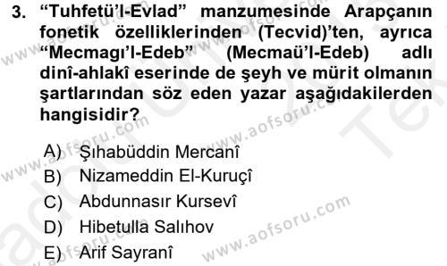 Çağdaş Türk Edebiyatları 1 Dersi 2015 - 2016 Yılı Tek Ders Sınav Soruları 3. Soru