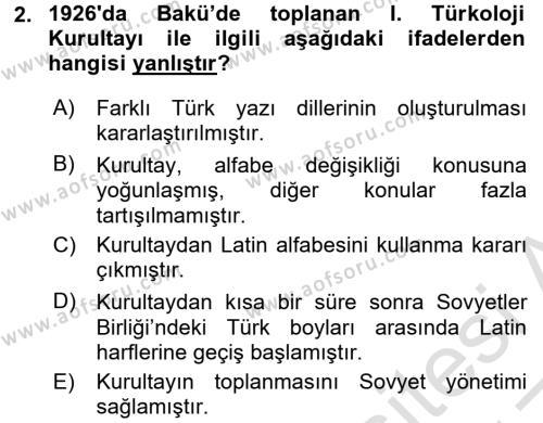 Çağdaş Türk Edebiyatları 1 Dersi 2016 - 2017 Yılı (Vize) Ara Sınav Soruları 2. Soru